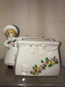 VTG Japan Porcelain Victorian Purse Flower Girl Window Herb Garden Planter Vase