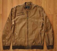 Buffalo David Bitton Faux Leather Motorcycle Jacket Men's  XL Bourbon Brown