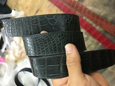 NO JOINTED GENUINE GRAY ALLIGATOR,CROCODILE S BALLY LEATHER SKIN MEN'S BELTS