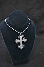"""Stainless Steel Cross pendant with Steel Color Carbon Fiber and 30"""" steel chain"""