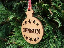 Personalised Name Christmas Bauble: Wooden Tree Decoration Gift