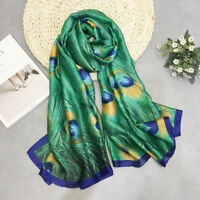 Hot Peacock Feather Silk Scarf Hijabs Scarves Wrap Shawl Pashmina Women 180x90cm
