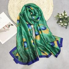 180x90cm Peacock Feather Silk Scarf Hijabs Scarves Wraps Shawl Pashmina Women