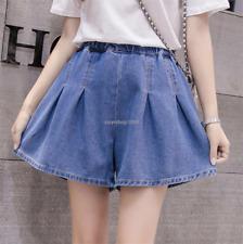 Women Denim High Waisted Wide Leg Loose Jeans Shorts Plus Size Hot Pants Student