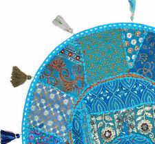 """XL 32"""" Round Blue Floor Pillow Cushion in Turquoise Bohemian Patchwork floor"""
