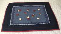 Quilt Wall Hanging, Floral Embroidery, Navy Blue, Medium Blue, White, Cranberry
