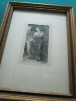 ANTIQUE William-Adolphe Bouguereau THE SHEPHERDESS 1873 ENGRAVING FRAMED