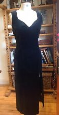 TRUE VINTAGE SIZE 14 BLACK 100% COTTON VELVET SEXY SLIMMING DRESS SIDE SPLIT