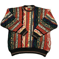 Vintage 90s Florence Tricot Rainbow Textured Coogie Sweater Biggie Hip Hop XL