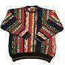 Vintage 90s Florence Tricot Rainbow Textured Coogie Sweater Biggie Hip Hop XL