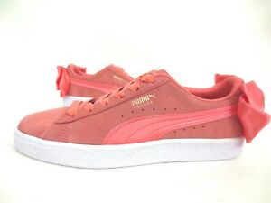 New PUMA Suede Bow Women's Shell Pink Sneaker Shoes 367317-01 Size US 6