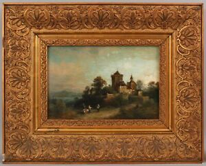 Antique HEINRICH STEINIKE German Impressionist Landscape Oil Painting Gilt Frame