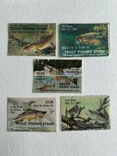 Lot of 5 Vintage ~Maryland~ TROUT Fishing Stamps ~Three Signed & Two Unsigned~