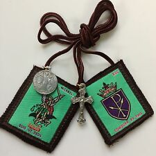 Scapular St Michael Archangel  Our Lady of Mt Carmel  100% Wool  with medals