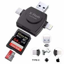 4 in 1 USB Micro SD Card Reader For iPhone/iPad/Android/Mac/PC With OTG Function