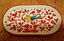 Vintage BIRD BUTTER DISH TRAY HANDPAINTED YELLOW BIRD RED WHITE BLUE CERAMIC