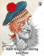 Adult Coloring Book (24 pg) Funny Scotland Portrait Vintage FLONZ grayscale 045