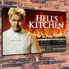 """Gordon Ramsay Hell's Kitchen Printed Box Canvas Picture A1.30""""x20""""30mm Deep"""