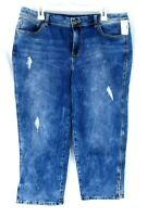 Maurices Distressed Blue Denim Stretch Capri Cropped Pants Jeans Size 15/16 NWT