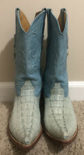 Los Altos Boots Crocodile Caiman Tail Baby Blue Boots Mens Size 7.5 EE