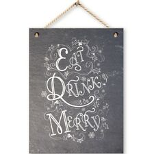 """8"""" Real Slate Hanging Christmas Plaque Sign Home Decoration Chic House Rustic"""