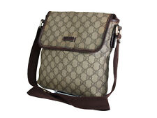GUCCI GG Web PVC Canvas Leather Brown Crossbody Shoulder Bag GS1972