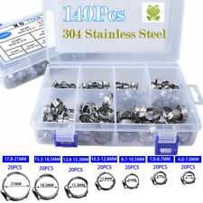 140PCS 304 Stainless Steel Single Ear & Clamp / Ear Hose Clamps Crimping Kit