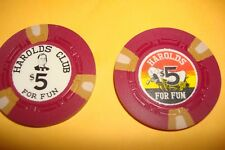 $5 Chips Casino / LOT of 2 - HAROLDS CLUB - Reno, Nevada UNCIRCULATED Condition