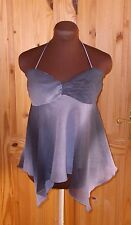 NEXT slate grey purple chiffon halter neck waterfall party camisole top 12 40