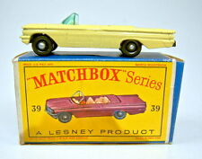 "MATCHBOX RW 39b Pontiac Convertible GIALLO RUOTE NERE con ""D"" BOX"