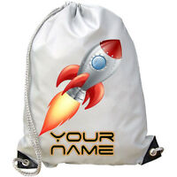 PERSONALISED SPACE ROCKET GYM / PE / SWIMMING BAG - GREAT KIDS GIFT & NAMED TOO