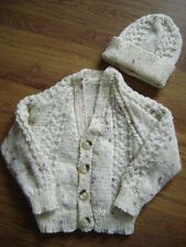 "New Hand Knitted Cream Fleck Boy's Aran Jacket & Hat Set 24/26"" chest"