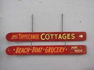 Vintage SET Wood Waterskis LAKE TIPPECANOE COTTAGES-WATER SKIES Advertising!
