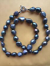 """Natural AAA 10-12mm Black Blue Baroque Tahitian Pearl Necklace 18"""""""