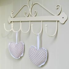 Metal Wall Hook 5 Cream Hooks French Style Shabby Chic Scroll Design ORI3544C