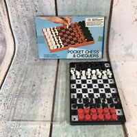 Vintage Chess & Checkers Pocket Travel Family Game Plastic Case