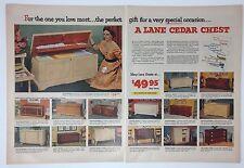 Original Print Ad 1954 LANE CEDAR CHEST  2 Page Vintage Photos Special
