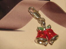 LOBSTER CLIP ON 3D RED XMAS BELLS  CHARM - FIT CARRIER BRACELET