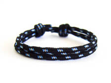 Rope Bracelet Mens with Slide Knots Nautical Braid Jewelry for Guys Black 3mm