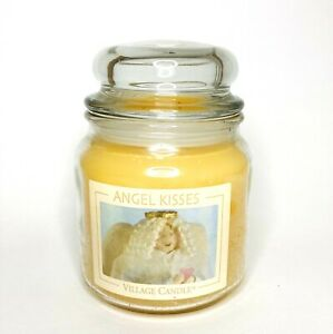 """Village Candle Retired """"ANGEL KISSES"""" 16 oz Double 2 Wick Ivory SUPER RARE NEW"""