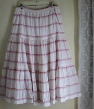 Eskandar Sz 3 Unusual Bohmemian White Cotton Gypsy Tiered Flowing Full Skirt