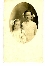 Pretty Little Girls-Bows-Pipe Curl Hair-Jewelry-RPPC-Vintage Real Photo Postcard