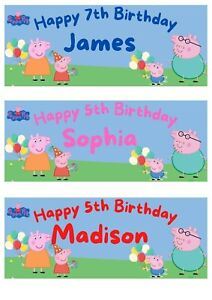 2 Personalised Peppa Pig Party Birthday Celebration Banners Decoration Posters 2