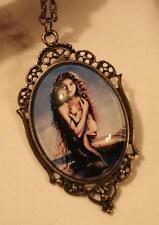 Newborn Baby Brasstone Pendant Necklace Heart Rim Victorian-Inspired Mermaid &