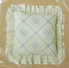 """1984 Caron Candlewicking French Tile Pillow 14x14"""" with Ruffle 6030"""