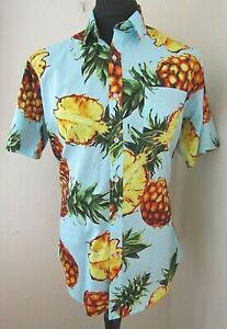 Pineapple Short Sleeved Blue,Orange & Green Patterned Men's Shirt ~ Large