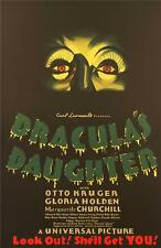 Dracula's Daughter Vintage Movie Poster Lithograph Gloria Holden Re Society
