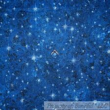 BonEful Fabric Cotton Quilt Navy Blue Dark Night Sky White Star Super Hero SCRAP