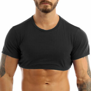 M Men Crop Tops Short Sleeve T-Shirt Basic Casual Fitted Top Pullover Blouses