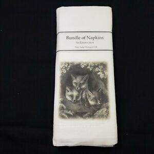 "Mary Lake Thompson Bundle of 6 Fox Linen Napkins 18"" × 18""  Nature Art New"